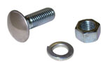 1955 Bumper bolt and nut, low dome stainless steel cap