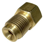 1965 Steel brake line nut adapter, 3/16 inch female (with 3/8-24 threads) to 1/4 inch male (with 7/16-24 threads)