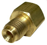1965 Steel brake line nut adapter, 1/4 inch female (with 7/16-24 threads) to 3/16 inch male (with 3/8-24 threads)