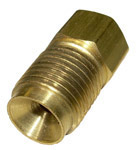 1965 Steel brake line nut adapter, 3/16 inch female (with 3/8-24 threads) to 5/16 inch male (with 1/2-20 threads)