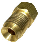 1965 Steel brake line nut adapter, 1/4 inch female (with 7/16-24 threads) to 5/16 inch male (with 1/2-20 threads)