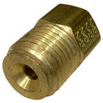 1977 Steel brake line nut adapter, 1/4 inch female (with 7/16-24 threads) to 9/16-18 inch male