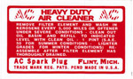 1944 Air cleaner decal, oil bath