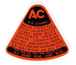 1949 Air cleaner decal, dry element