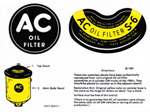 1953 Oil filter decals, AC type