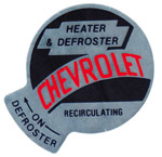 1958 Factory heater decal, fresh air or recirculator heater