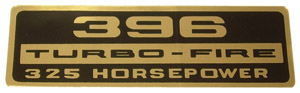 1965 Valve cover decal, 396 Turbo-Fire 325 Horsepower