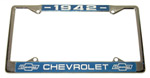 1942 License plate frame, chrome frame with chrome letters on black background