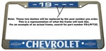1956 License plate frame, chrome frame with chrome letters on black background