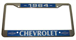 1964 License plate frame, chrome frame with chrome letters on black background