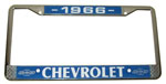 1966 License plate frame, chrome frame with chrome letters on black background