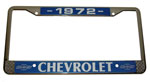 1972 License plate frame, chrome frame with chrome letters on black background