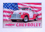 1980 Refrigerator magnet, red and white 1951-53 Chevrolet Pick-up