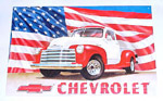 1936 Metal sign, red and white 1951-53 Chevrolet Pick-up