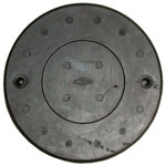 1958 Master cylinder floor hole cover, rubber over metal