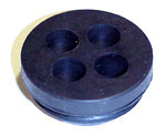 1954 4-hole firewall grommet for cables, fits a 1-3/8 inch hole