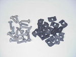 1953 Headlight bucket to fender fastener kit, set of 16 J clips and 16 clutch head screws