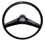 1970 Steering wheel and horn button cap, black
