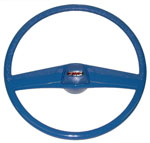 1970 Steering wheel and horn button cap, medium blue