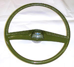 1970 Steering wheel and horn button cap, green
