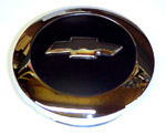 1955 (2nd Series) Horn button cap, chrome with black details