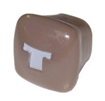 1943 Throttle knob, rose tan with gray letter T