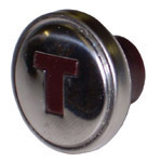1947  Throttle knob, stainless over maroon letter T