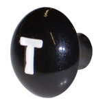 1954 Throttle knob, black with white letter T