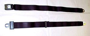 1944 Lap seat belt, black webbing and push button buckle