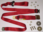 1972 Lap seat belt with shoulder strap, red webbing