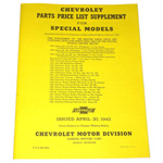 1938 Price list supplement and part numbers for special models, Chevrolet