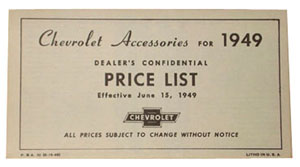 1949 Accessory listing, Chevrolet
