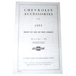 1953 Accessory listing, Chevrolet