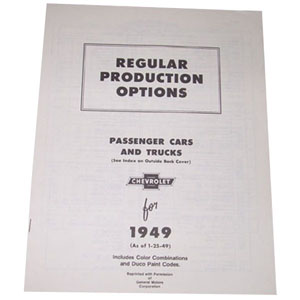 1949 Regular production options booklet, 16 pages