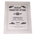 1953 Regular production options booklet, 12 pages