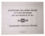 1953 Advertised Delivered Prices booklet, Chevrolet