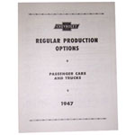 1947 Regular production options booklet, 14 pages