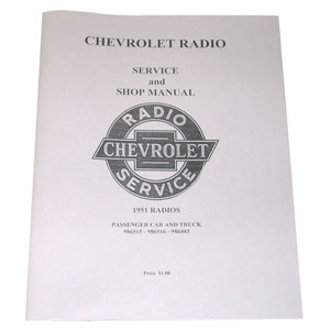 1953 Radio service and shop manual originally for 1951, Chevrolet