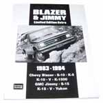 1987 Blazer and Jimmy Limited Edition Extra book, softbound