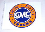 1936 Metal sign with GMC decal, 17 inches by 14 inches