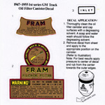 1952 Oil filter decals, Fram type