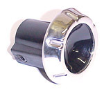 1965 Radio knob, black plastic with chrome trim