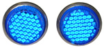 1982 Reflector license fasteners with blue plastic lenses