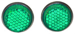 1966 Reflector license fasteners with green plastic lenses
