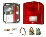 1977 Taillight housing and lens assembly, without trim