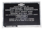 1944 Vehicle identification plate, 1/2 ton only