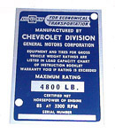 1953 Vehicle identification plate, 1/2 ton only