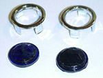 1936 Blue dots with chrome ring, for all taillight lenses