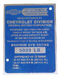 1956 Data plate, door post